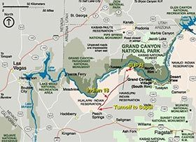 Havasupai Indian Reservation Grand Canyon National Park US - Map of canyons in us