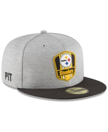official photos 4f7a9 935f7 New Era Pittsburgh Steelers On Field Sideline Road 59FIFTY Fitted Cap -  Black 6 7 8