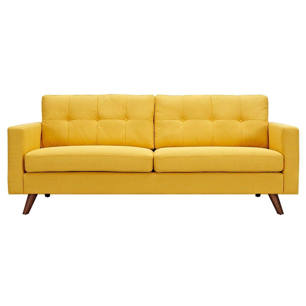 Papaya Yellow Uma Sofa Yellow Sofa Upholstered Couch Yellow Couch
