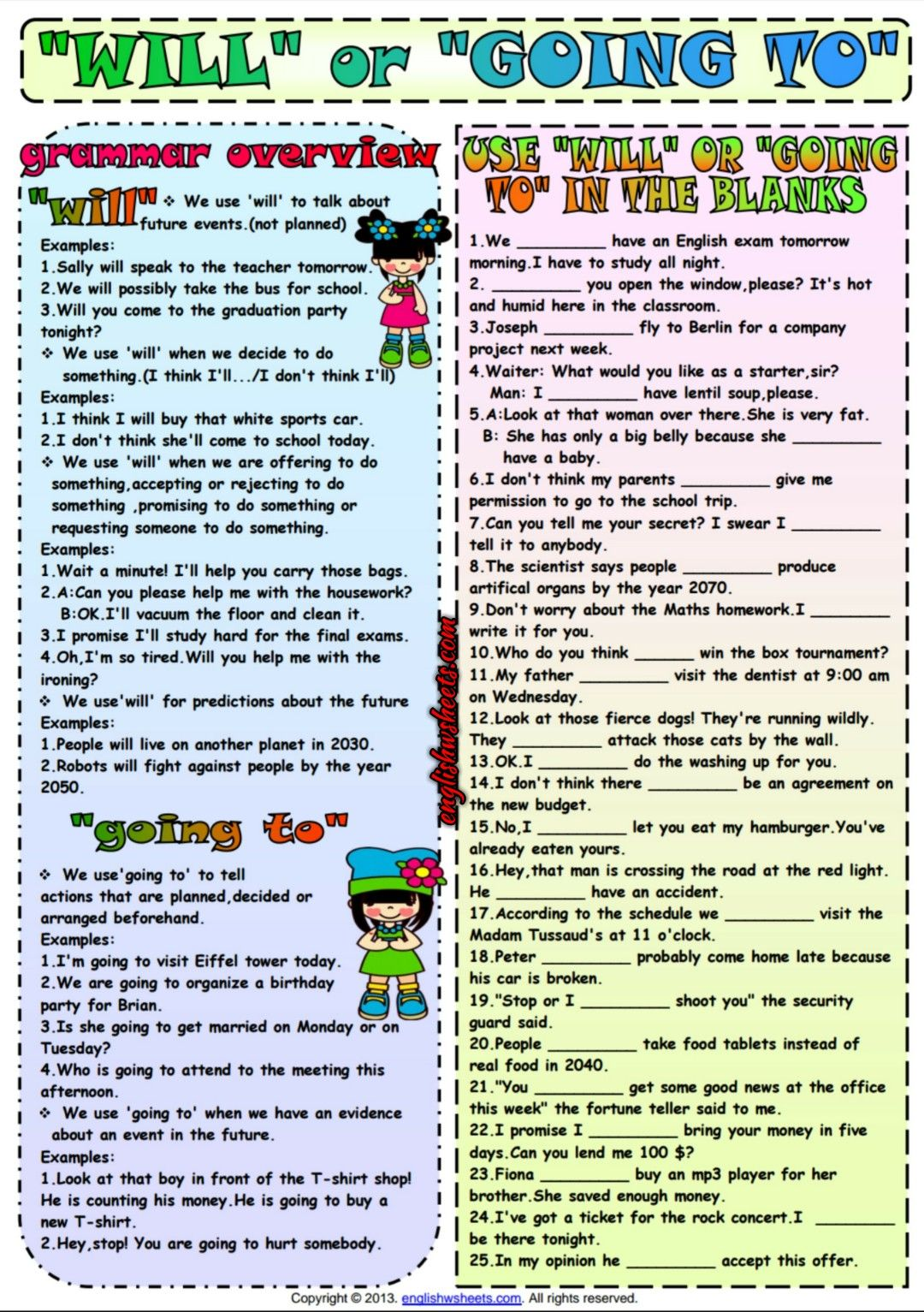 Will Or Going To ESL Grammar Exercise Worksheet | Esl Printable ...