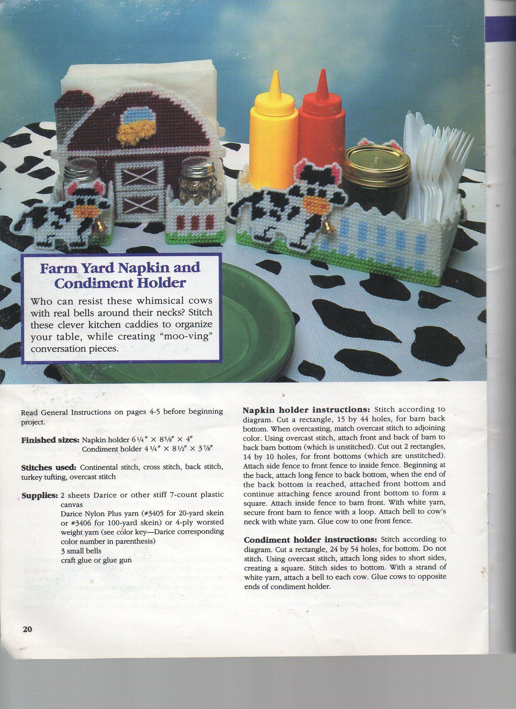 FARMYARD NAPKIN & CONDIMENT HOLDERS 1   plastic canvas patterns ...
