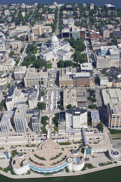 To See Capitol Towering Above Isthmus >> Aerial View Of The Monona Terrace Wisconsin State Capitol In 2019