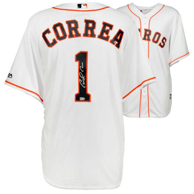 c7688db37 Carlos Correa Houston Astros Fanatics Authentic Autographed White Majestic  Replica Jersey