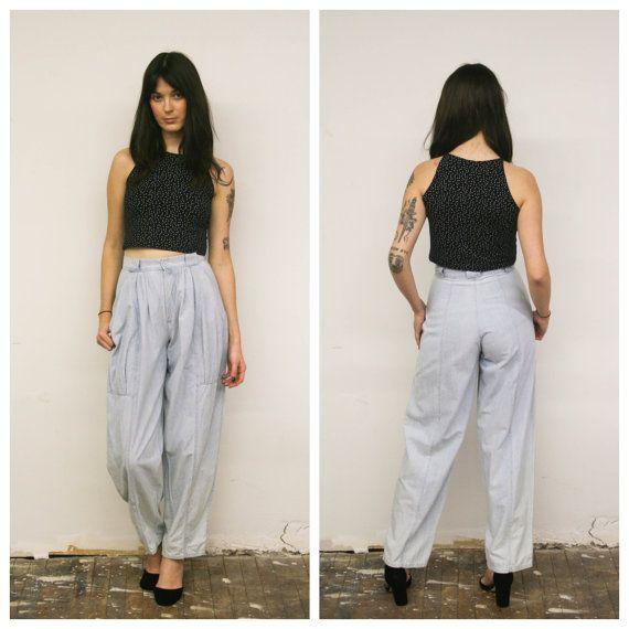 Vintage Pale Blue Chambray Pants 80s High by BellaVistaVintage613