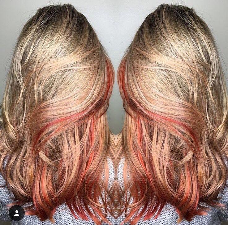 Blonde With Peekaboo Red Peekaboo Hair Blonde Hair With Highlights Blonde Hair Color