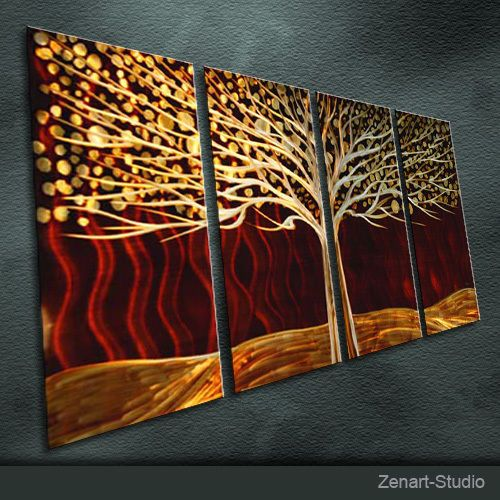 "Metal Wall Art  Painting Sculpture Indoor Outdoor Decor /""Brown Tree/"" By Zenart"