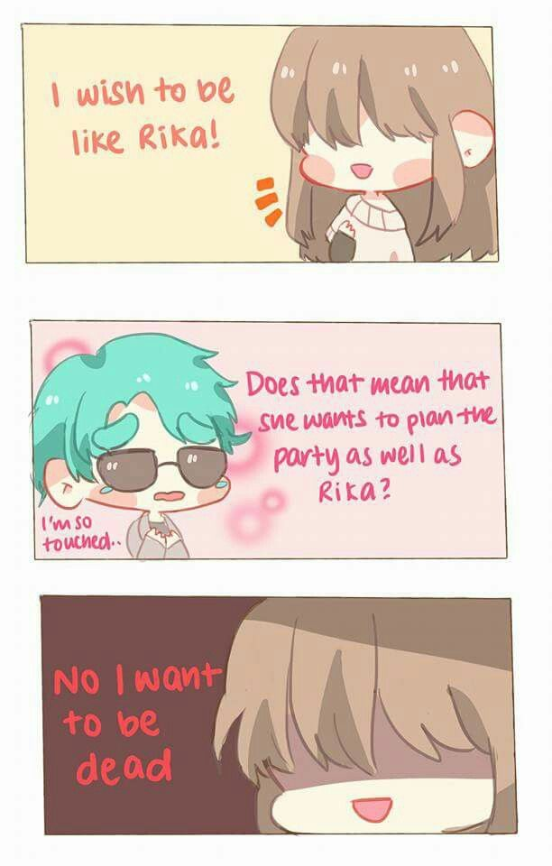 Oh my god, I just. Poor V he was so touched and now he's probably heart broken!!! Mystic Messenger