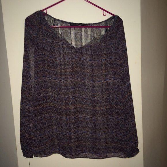 Zara sheer patterned blouse Lovely & chic Zara Tops Blouses