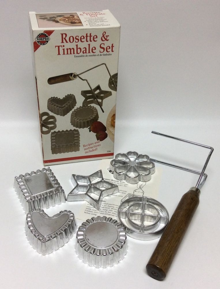 Norpro Swedish Rosette Cookie Timbale Pastry Set 6 Molds New