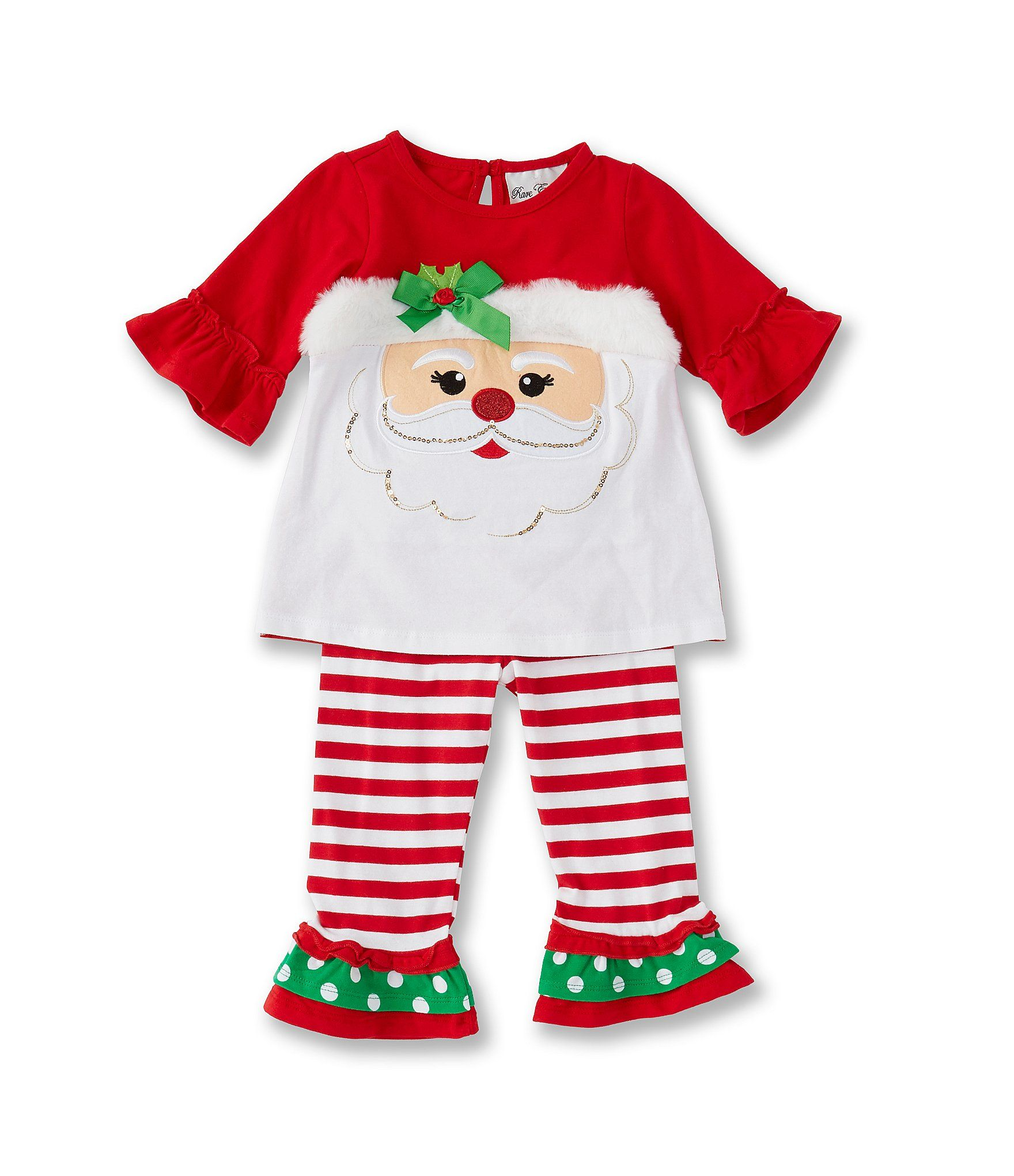 Rare Editions Baby Girls 12-24 Months Santa Claus Tunic  Striped Leggings Set - Red 24 Months #stripedleggings