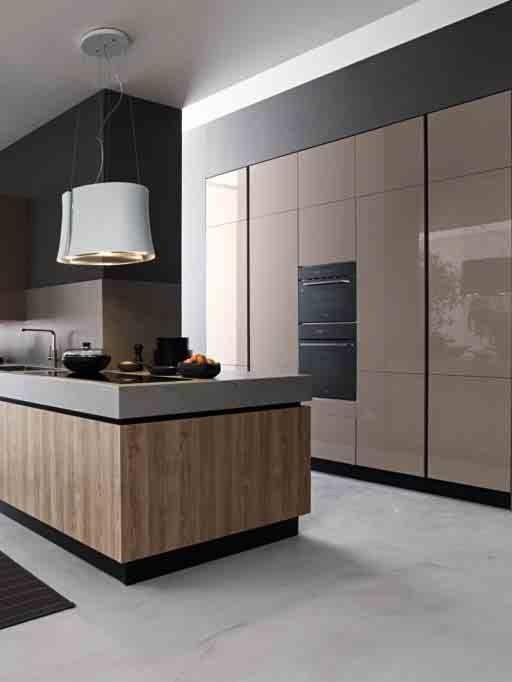 Risultati immagini per cucina con isola attrezzata e parete a ...