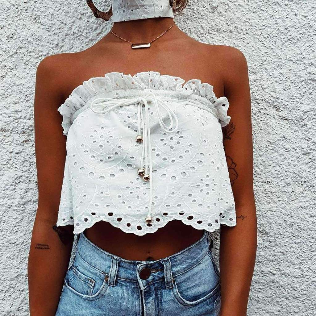 6ad3f7155d White Off-shoulder Hollow Out Crop Tube Top – Lupsona