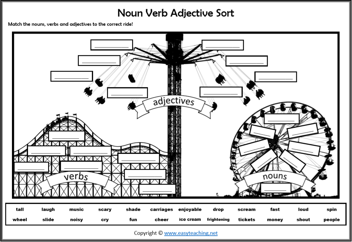 Nouns Verbs Adjectives Sort