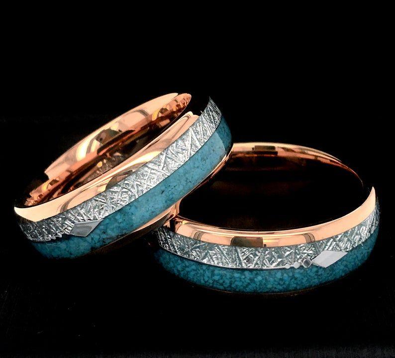 Matching Ring Set Men Wedding Bands, Rose Gold Tungsten