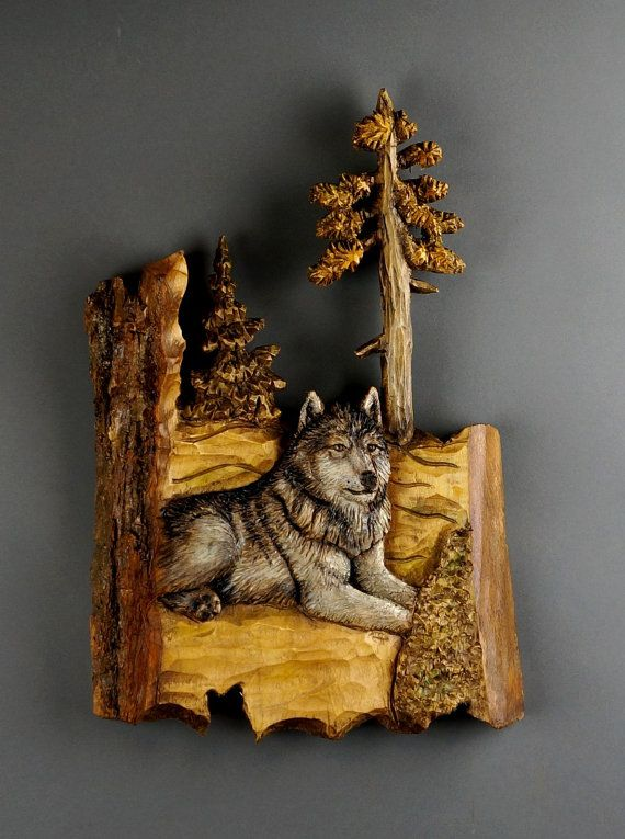 Christmas Gift Wooden Wolf Carved On Bois Du Tilleul By