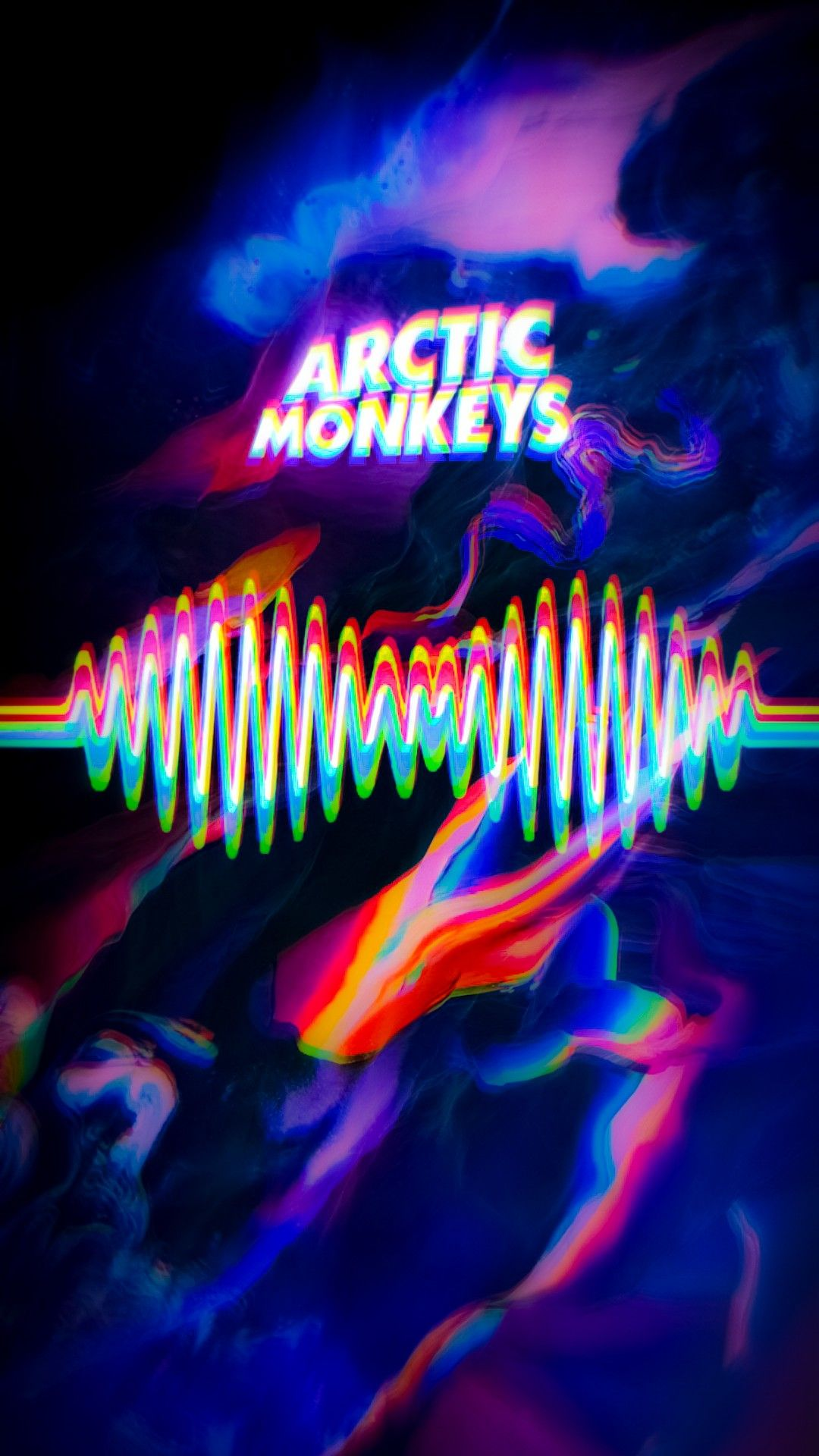 Arctic Monkeys Wallpaper Glitch-Rainbow