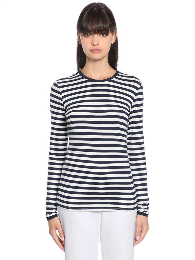 MAX MARA, T-shirt in jersey di viscosa, Bianco/blu, Luisaviaroma