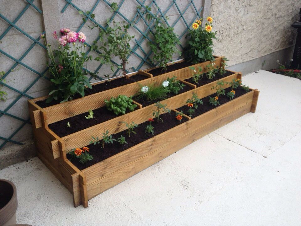 bac a fleurs et potager palette pinterest gardens. Black Bedroom Furniture Sets. Home Design Ideas