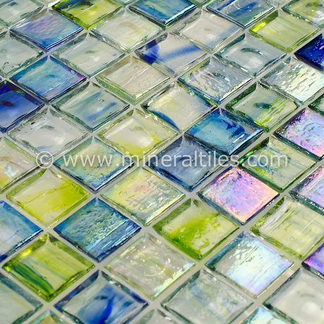 stained glass mosaic tile brazil 1x1 is face mounted on a