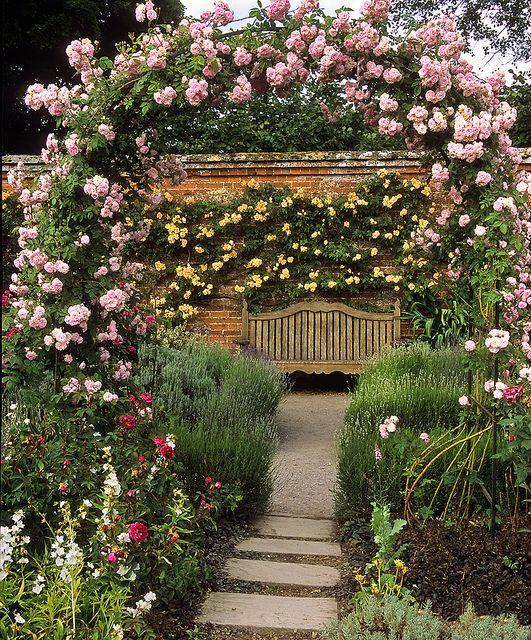 Mottisfont Abbey Rose Gardens Hampshire Uk The Best Romantic Rose Garden In The World 1 Of 20 Garden Seat Framed By Rose Pergola Cottage Garden Design Beautiful Gardens Cottage Garden