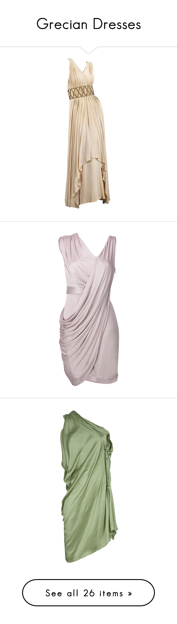 """""""Grecian Dresses"""" by stolencarradio ❤ liked on Polyvore featuring dresses, gowns, long dresses, vestidos, short dresses, vestiti, abiti, pink dress, knee length cocktail dresses and short fitted dresses"""