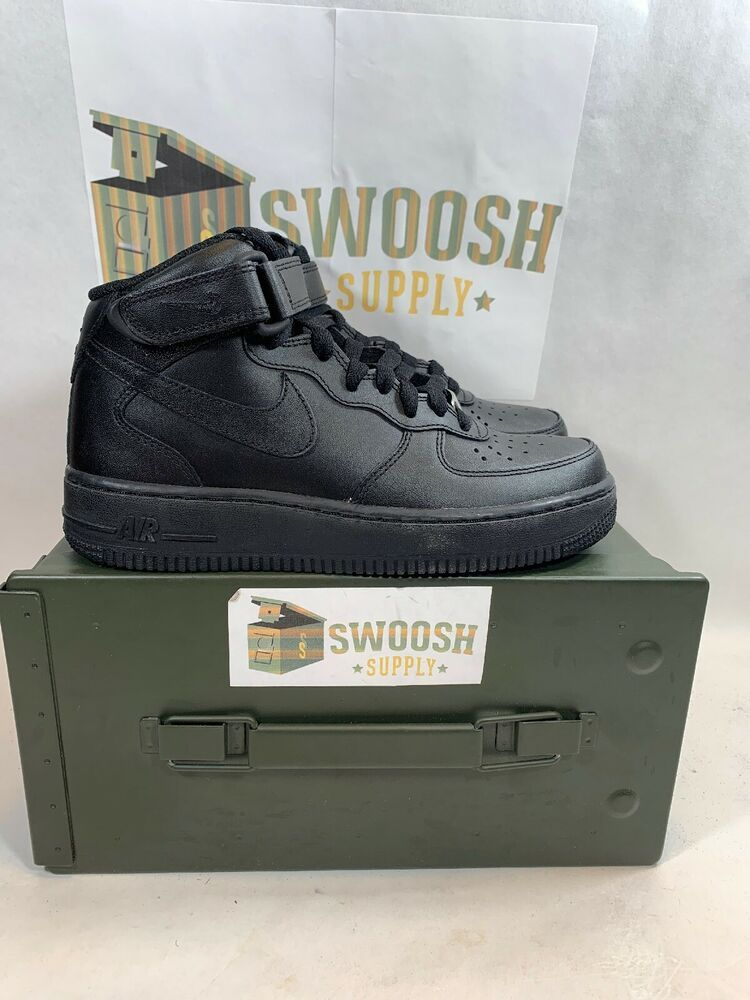 timeless design 18e74 ab7dd Nike Air Force 1 Mid  07 LE Womens 366731-001 Black Leather Shoes Wmns Size  6  Nike  AthleticSneakers