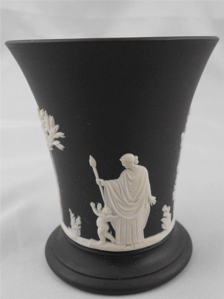 Wedgwood White On Black Jasperware Mother And Child Trumpet Vase