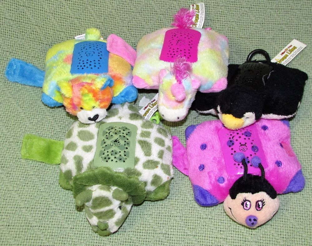 5 Keychain Dream Lites Pillow Pets Mini Plush Unicorn Dinosaur Rainbow Teddy Pillowpets