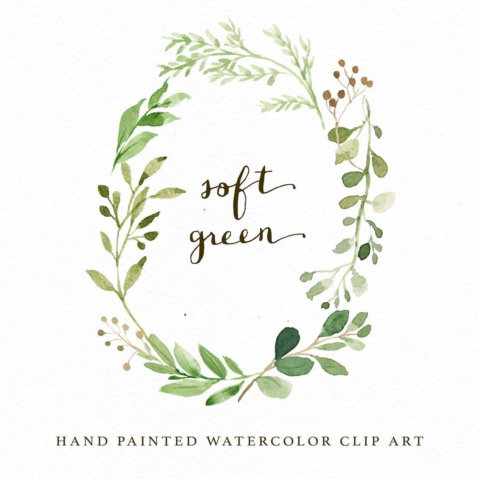 Watercolor Oval Leaf Wreath Clip Art Soft Green Small Etsy Wreath Clip Art Watercolor Flower Wreath Wreath Watercolor