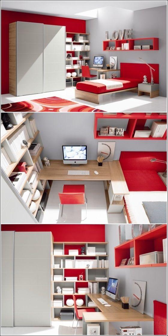 Bon Inspiration De Décor En Rouge Vif, Gris Et Le Blanc ! ~ Décor De Maison /  Décoration Chambre