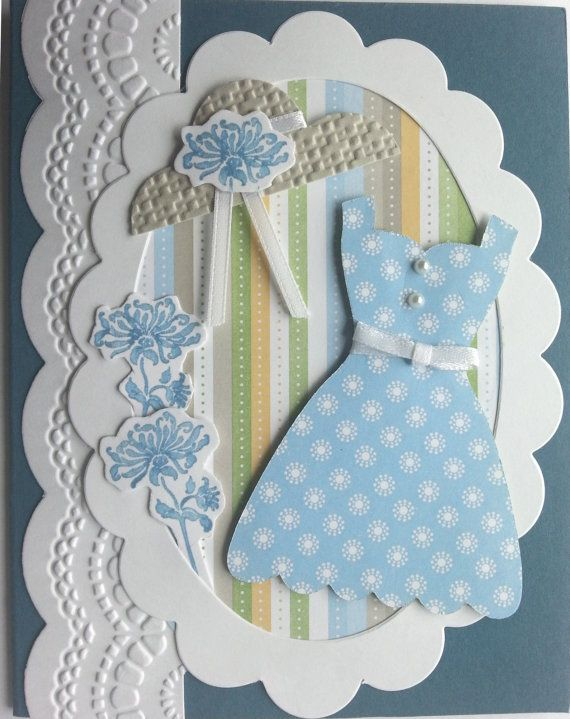 Blue Sundress Summer Breeze Handmade Greeting by TheCravenCottage, $4.50