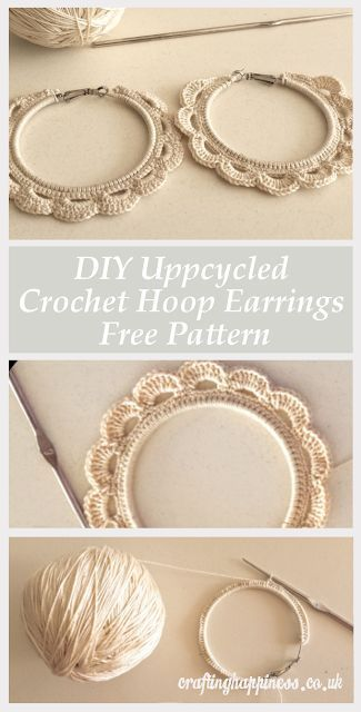 Upcycle a Pair of Old Hoop Earrings into Beautiful Crochet Earrings with this DIY Free Pattern | Crafting Happiness
