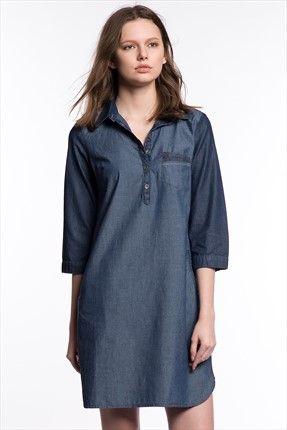 Bayan Elbise 130134-10241 Mavi | Trendyol