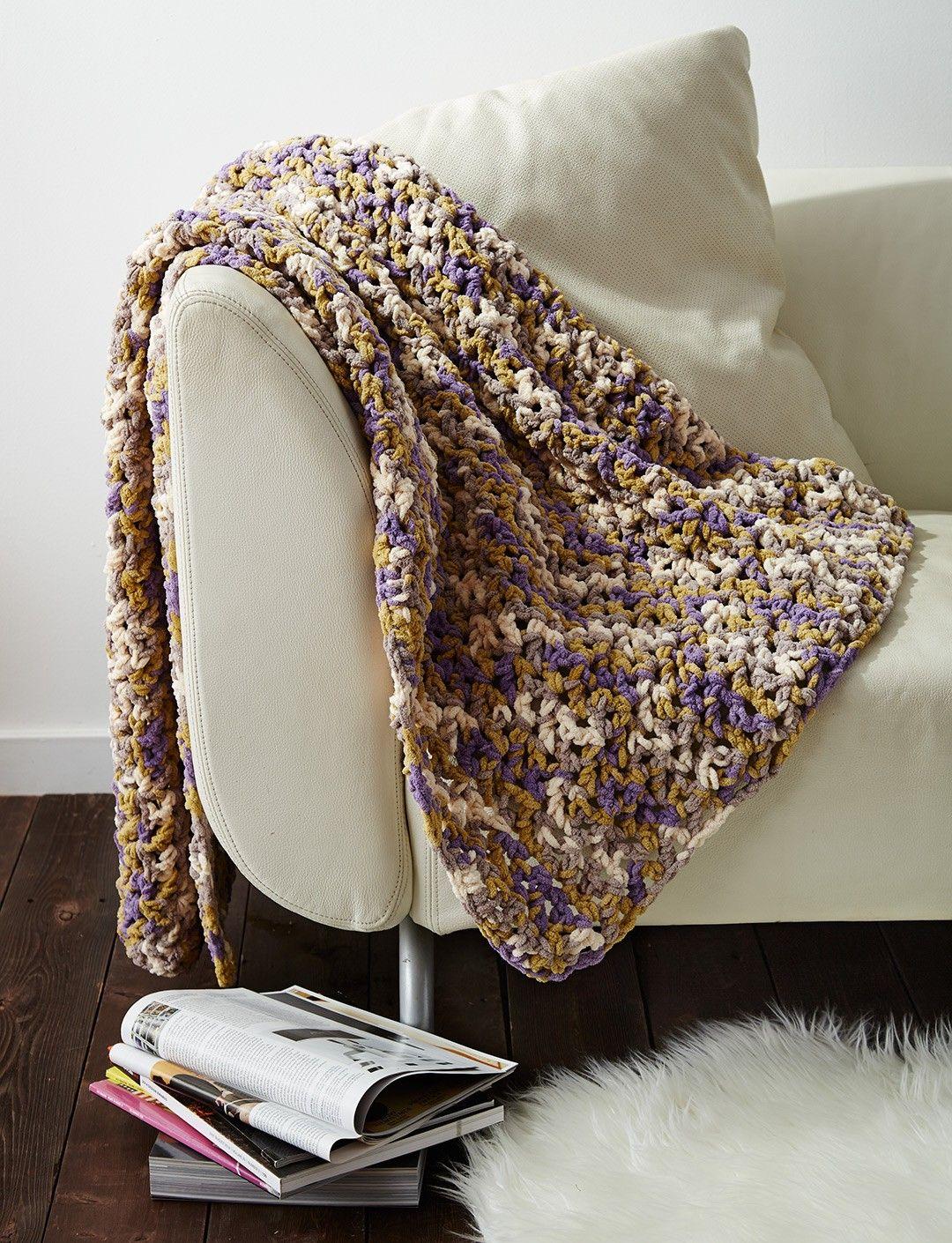 Yarnspirations.com - Bernat Easy Peasie Blanket - Patterns ...