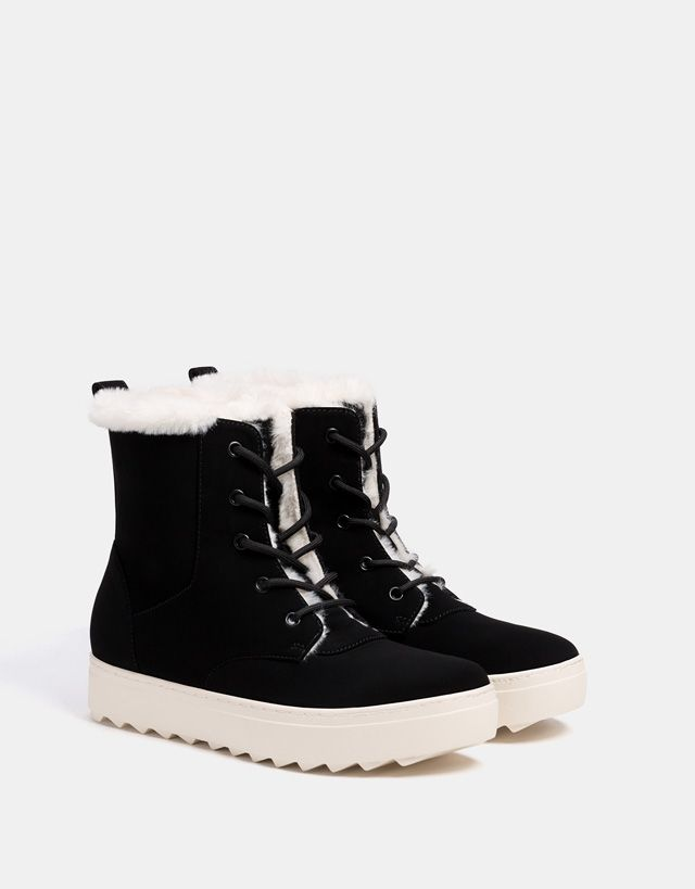Bershka Croatia Faux Fur High Top Sneakers Metallic Ankle Boots High Top Sneakers Summer Shoes