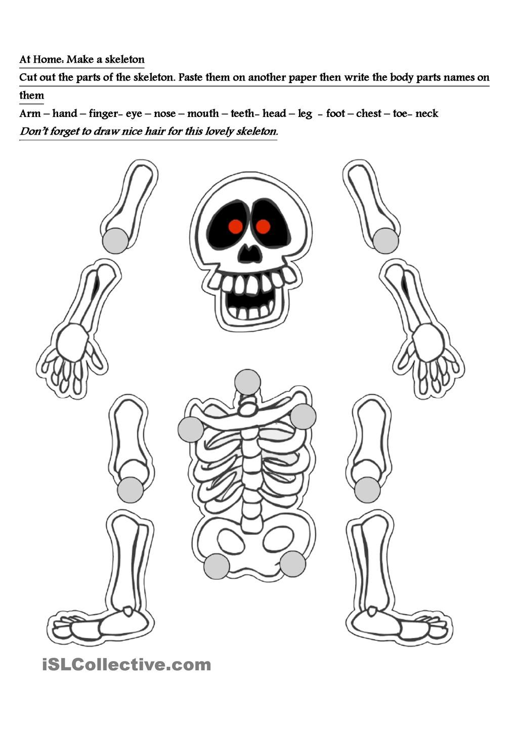 skeleton worksheet free esl worksheets dia de los muertos pinterest worksheets. Black Bedroom Furniture Sets. Home Design Ideas