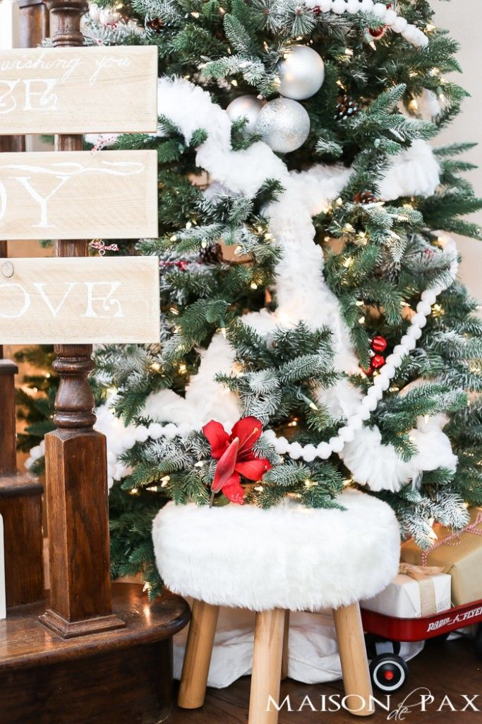 looking for christmas tree decorating ideas this winter wonderland christmas tree with red accents is classic with a modern twist and a secret garland - Winter Wonderland Christmas Decorating Ideas