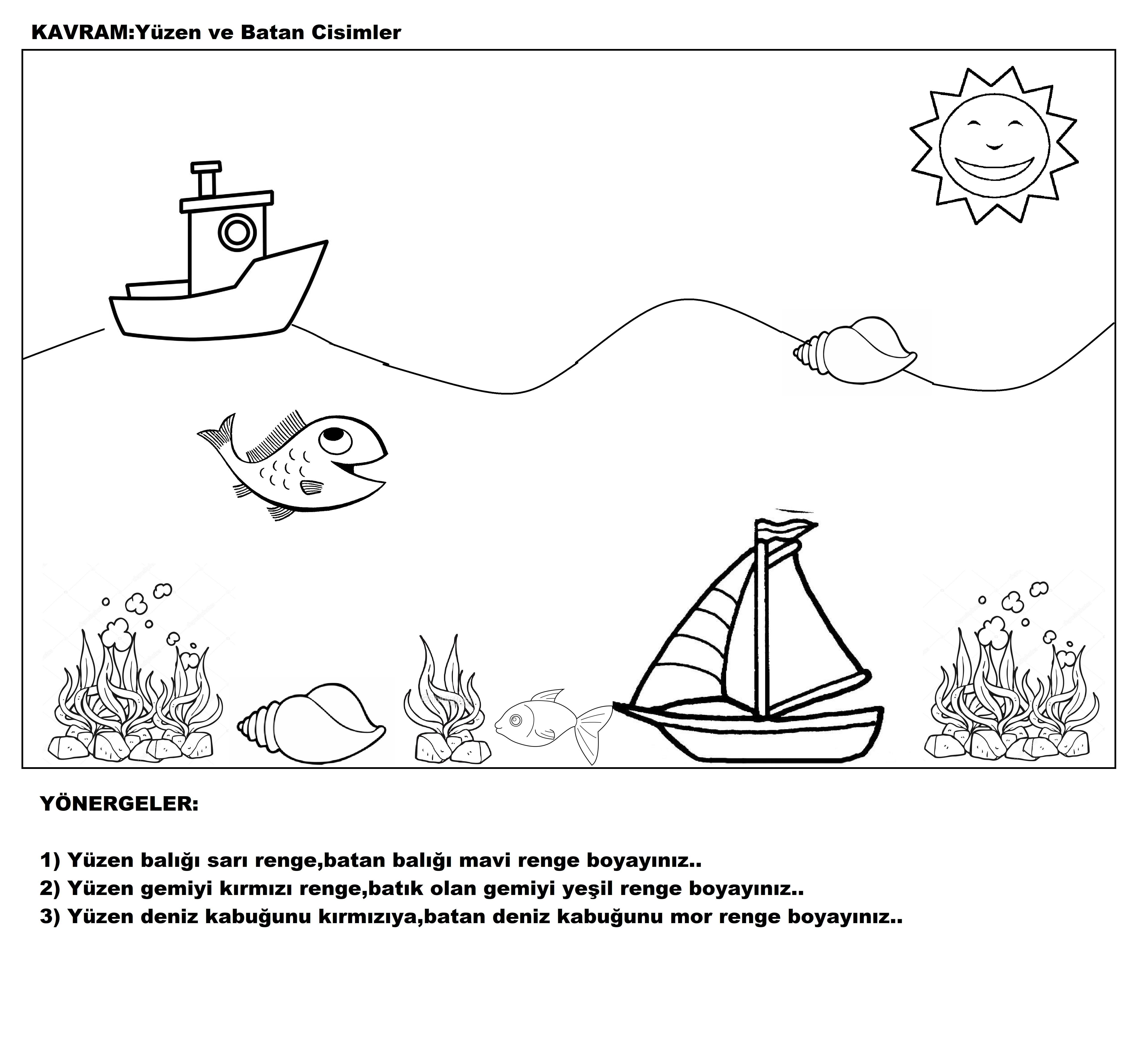 Deniz Taşıtları Boyama sayfası