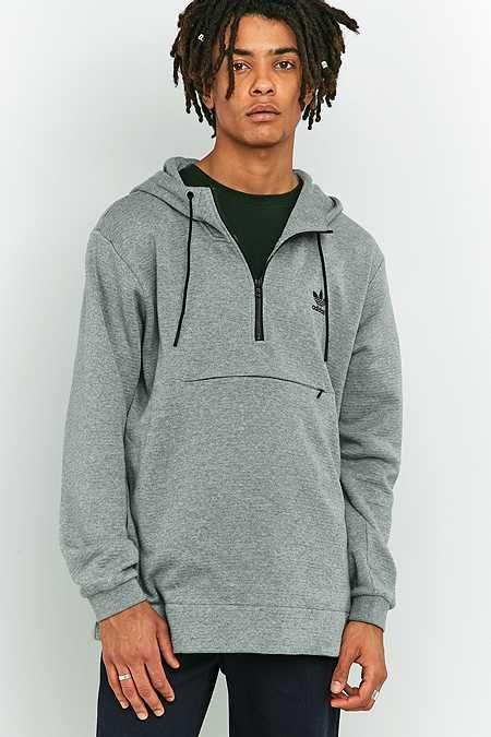 f7db655c9 adidas Originals Shadow Tones Grey Half-Zip Pullover Hoodie