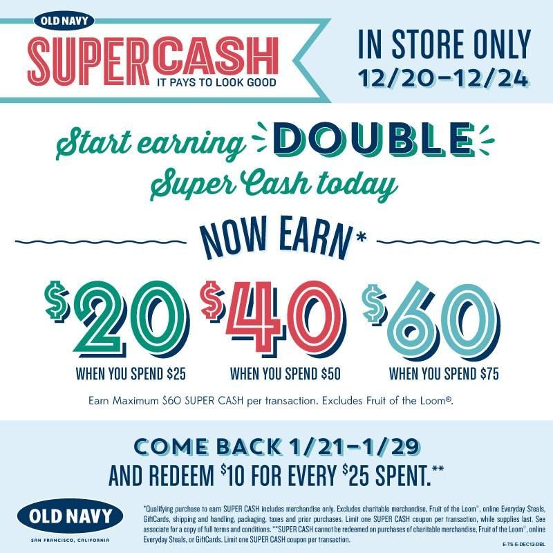 Tomorrow S Your Last Day To Earn Double Super Cash At Old Navy