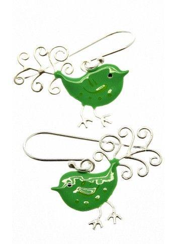 Handmade silver and enamel little bird earrings!