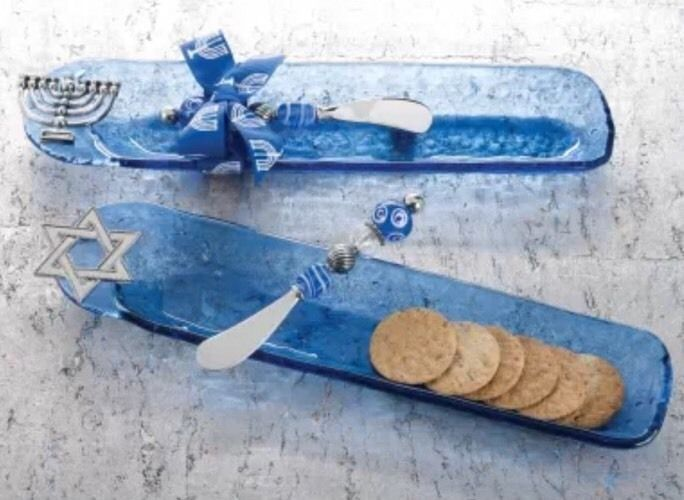 New Mud Pie Blue Glass Cracker Dish With Serving Knife #Mudpie