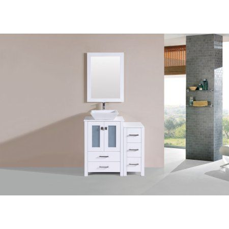 36 inch Newport White Single Modern Bathroom Vanity with Side
