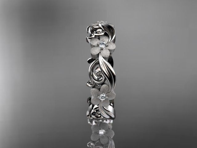14kt white gold diamond flower wedding ring,engagement ring,wedding band. ADLR 191. $785.00, via Etsy.