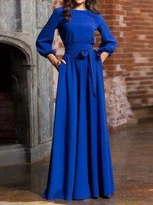 blau taschen mit schleife gürtel rundhals 3/4 Ärmel elegante maxikleid ballkleider abendkleider