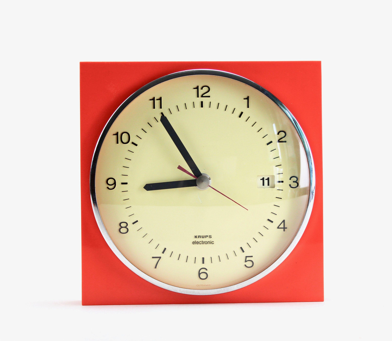 Krups Electronic Wall Clock Space Age 70s Kitchen Clock Vintage Watch With Date Orange Panton Era Design Wanduhren Uhrideen Wanduhr