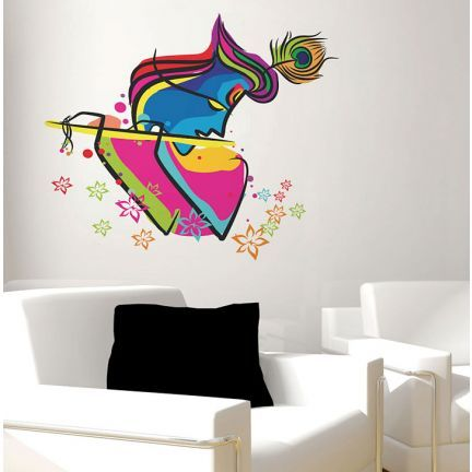 decal dzine abstract art krishna wall sticker - add oodles of style