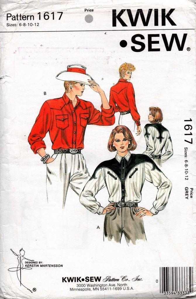 Kwik Sew 1617 Womens Western Shirt 80s Vintage Sewing Pattern Size 6 ...