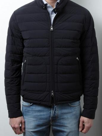 short down jacket by Moncler - acorus - short down jacket in dark blue color,