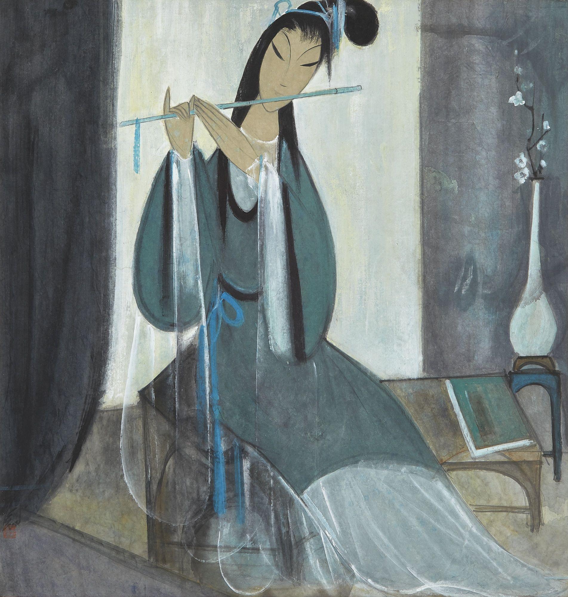 Lin Fengmian (1900-1991) RESONANCE OF THE JADE FLUTE. 林風眠 (1900-1991) 玉笛 ...
